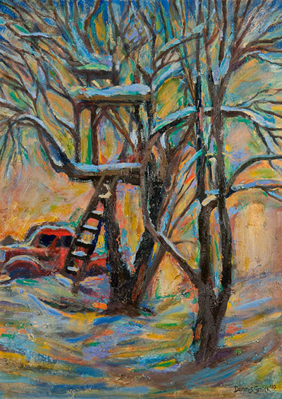 Treehouse with Red Truck 24x18